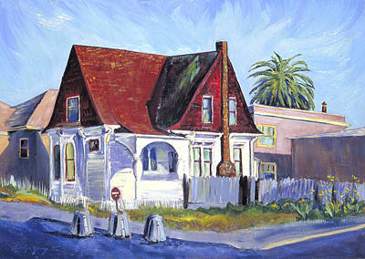 Art Print featuring the painting The Red Roof House by Asha Carolyn Young