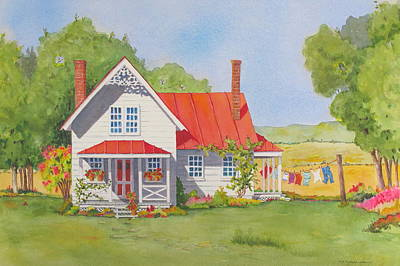 Painting - The Red Roof by Mary Ellen Mueller Legault