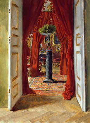 Red Drape Painting - The Red Room by Albert von Keller