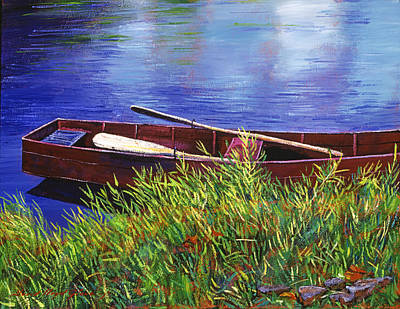 Image result for painting of row boat under cedars in a small lake