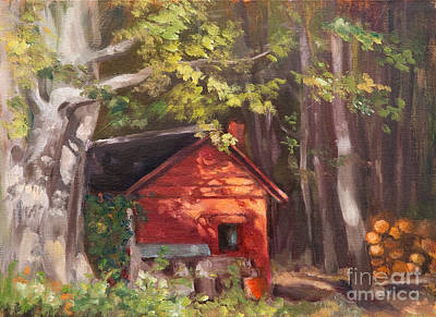 Woodpile Painting - The Red Shack by Marge Casey