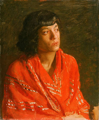 Shawl Painting - The Red Shawl by Thomas Eakins
