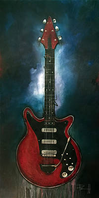 Music Paintings - The Red Special by Sean Parnell