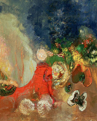 Symbolism In Art Painting - The Red Sphinx by Odilon Redon