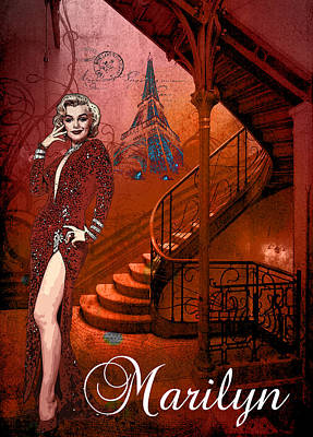 Digital Art - The Red Stair by Greg Sharpe