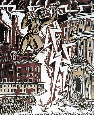 Communist Russia Drawing - The Red Thunderbolt 1919 by Ignaty Nivinisky