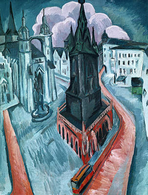 European Street Scene Painting - The Red Tower In Halle by Ernst Ludwig Kirchner