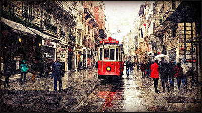 The Red Tram 2 Art Print
