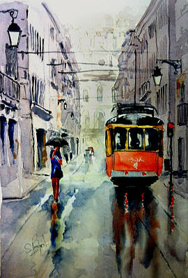 Painting - The Red Tram by Steven Ponsford