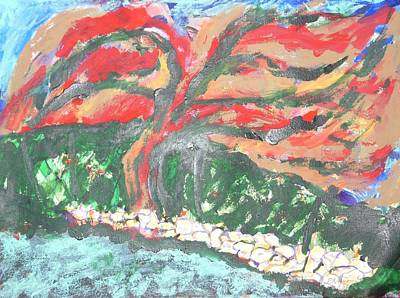 Mixed Media - The Red Tree by Esther Newman-Cohen