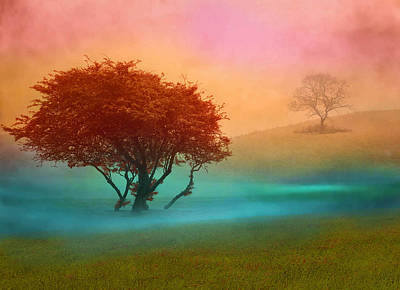 Art Print featuring the digital art The Red Tree by Nina Bradica