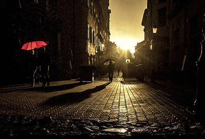 Stret Photograph - The Red Umbrella by Christian  Svastits