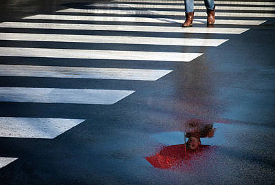 Crosswalk Photograph - The Red Umbrella by Marc Apers