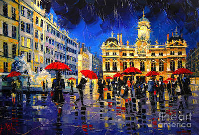 Rainy Painting - The Red Umbrellas Of Lyon by Mona Edulesco