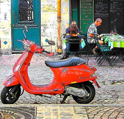 The Red Vespa In Paris Art Print by Jan Matson