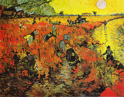 The Red Vineyard At Arles Art Print by Celestial Images