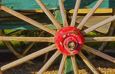 Wagon Wheel Hub Wall Art - Painting - The Red Wagon Hub by Barbara Snyder