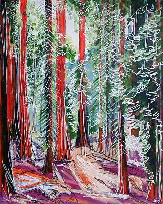 Sequoia National Park Painting - The Redwoods by Laura Hol Art