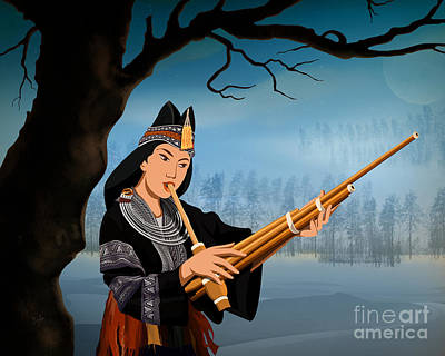 Bare Trees Digital Art - The Reed Piper by Bedros Awak