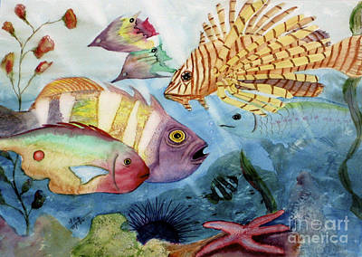 Fish Underwater Painting - The Reef by Mohamed Hirji