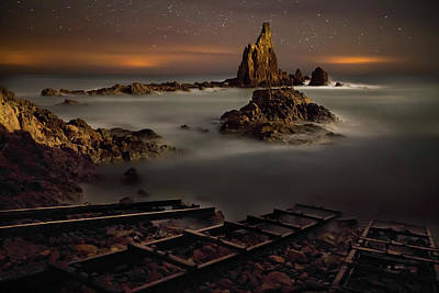 Ladder Photograph - The Reef Of The Sirens (night) by Martin Zalba