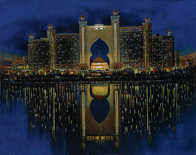 Dubai Skyline Painting - The Reflection 2  by Art Tantra