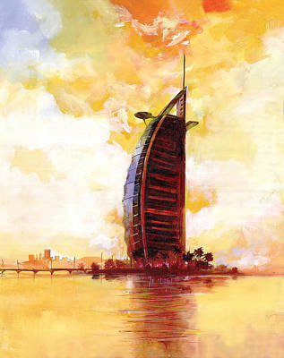 Dubai Skyline Painting - The Reflection 3  by Art Tantra