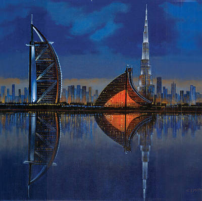 Dubai Skyline Painting - The Reflection  by Art Tantra