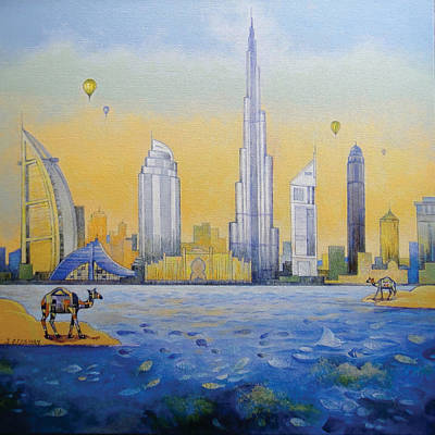 Dubai Skyline Painting - The Reflection Camel by Art Tantra