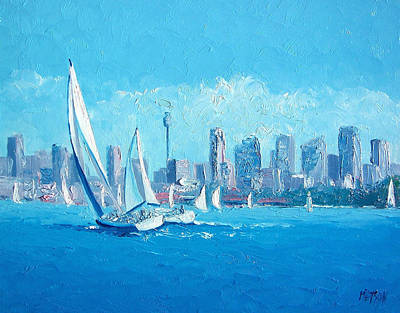 Sydney Skyline Painting - The Regatta Sydney Habour By Jan Matson by Jan Matson