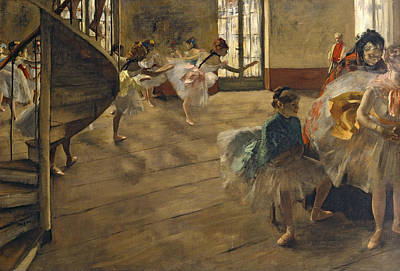 Ballet Dancers Painting - The Rehearsal, C.1877 by Edgar Degas