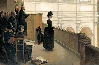 Rehearsal Painting - The Rehearsal In The Choir Loft by Henri Lerolle