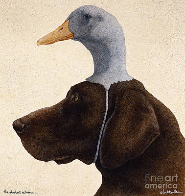 The Reluctant Retriever... Art Print by Will Bullas
