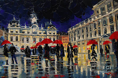 Streets Of France Painting - The Rendezvous Of Terreaux Square In Lyon by Mona Edulesco