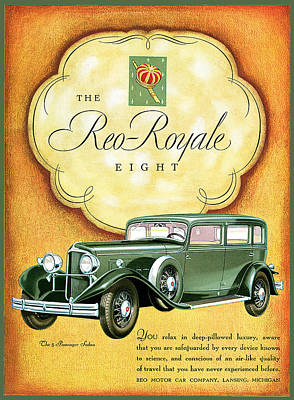 The Doors Poster Painting - The Reo Royale Eight by Vintage Automobile Ads and Posters