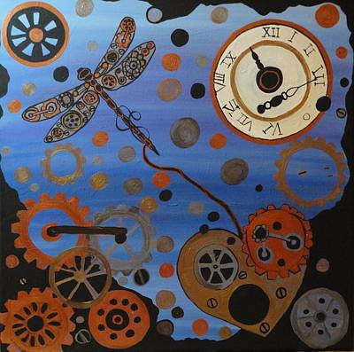 Metal Dragonfly Painting - The Rescue Of A Mechanical Heart by Rachel Olynuk