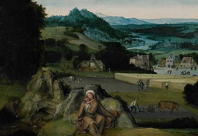 Netherlands Painting - The Rest On The Flight Into Egypt by Joachim Patinir