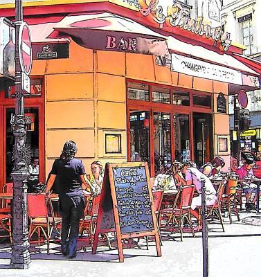 French Street Scene Digital Art - The Restaurant On The Corner Paris by Jan Matson