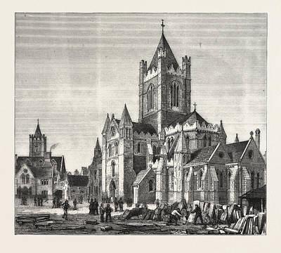 Restoration Drawing - The Restoration Of Christ Church Cathedral by Irish School