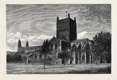 Restoration Drawing - The Restoration Of Tewkesbury Abbey Exterior Of The Abbey by English School