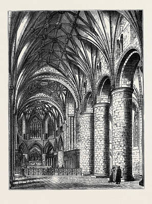 Restoration Drawing - The Restoration Of Tewkesbury Abbey Interior View Showing by English School