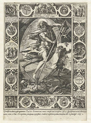 Resurrection Drawing - The Resurrection Of Christ, Print Maker Hendrick Goltzius by Hendrick Goltzius And Philips Galle