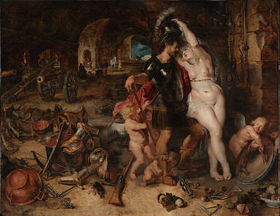 The Return From War. Mars Disarmed By Venus Print by Peter Paul Rubens
