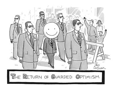 Urban Street Drawing - The Return Of Guarded Optimism by Leo Cullum