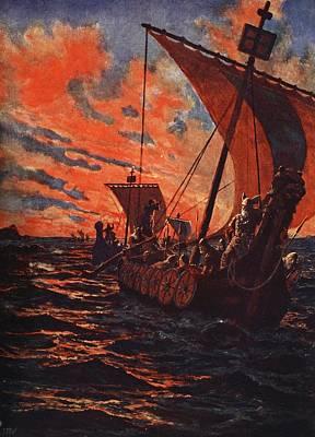 Sunset Drawing - The Return Of The Vikings by John Harris Valda
