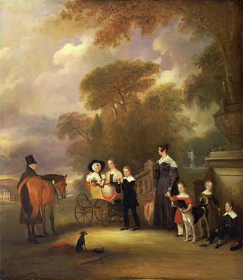 Bassinet Painting - The Rev. And Mrs. Henry Palmer With Their Six Younger by Litz Collection