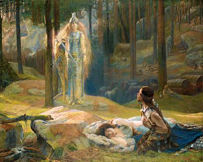 The Revelation. Brunhilde Seeing Siegmund And Sieglinde Art Print