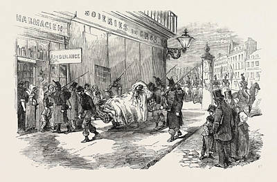 The Revolution In France Taking The Wounded To The Ambulance Art Print