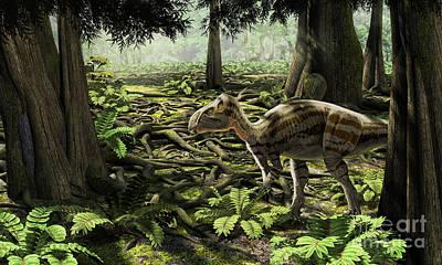 Tree Roots Digital Art - The Rhabdodontid Iguanodont Zalmoxes by Roman Garcia Mora