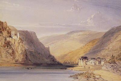 Bank Clouds Hills Painting - The Rhine At Assmannshausen by William Callow